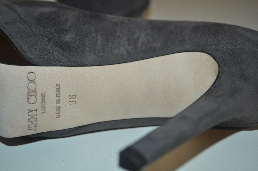 NIB  795+ Jimmy Choo Talent Mink Pewter Suede Suede Suede Platform Pump shoes 36   6 Grey 23a345