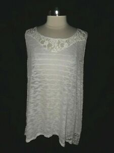 NEW-TORRID-Plus-Size-3-3X-Tank-Top-Gray-Ivory-Floral-Lace-Striped-Sleeveless