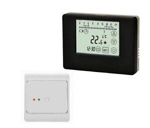sans fil thermostat d 39 ambiance radio ensemble pour chauffage au sol noir blanc ebay. Black Bedroom Furniture Sets. Home Design Ideas