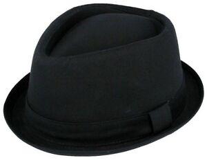 ec5cb6f5e Details about 100% Cotton Hat Trilby Diamond Pork Pie Fedora Gangster Black  Ladies Mens Boys