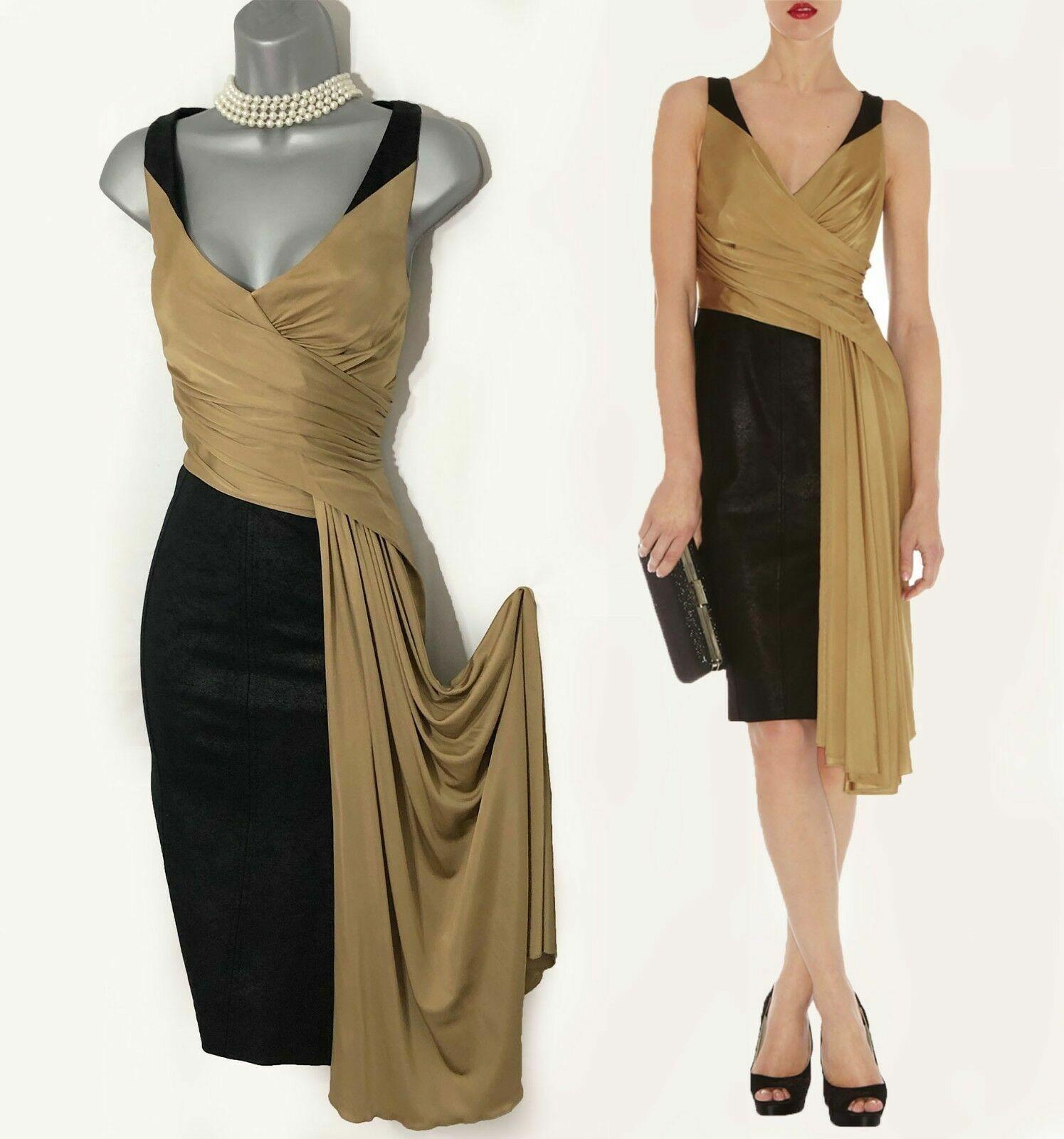 Größe 10 UK KAREN MILLEN schwarz Bronze Ponte Roma Drape Dress Party Evening