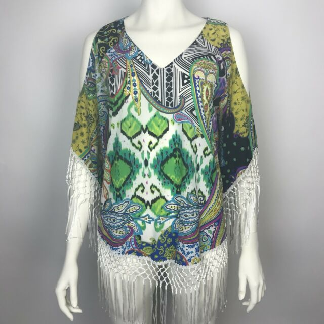ad33b7e8529b2 CHICOS Floral Paisley Cold Shoulder Fringe Boho Tunic Cover Up Blouse Top 1  Sz S