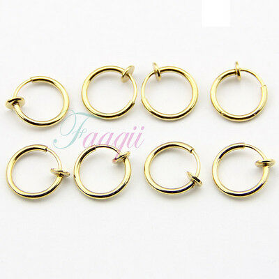 Clip-On Hoop Fake Nose Lip Ring Spring man woman 1.3cm Earrings Gold Tone 8pcs