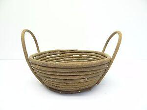 Vintage Bent Wood Vine Crafts Folk Art Straw Woven Two Handled Decorative Basket