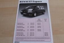 142353) Renault Espace J11 - Preise & Extras - Prospekt 06/1990