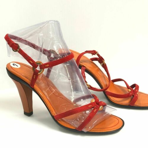 Tod's Red & Orange Anello Leather Donna Heels 7