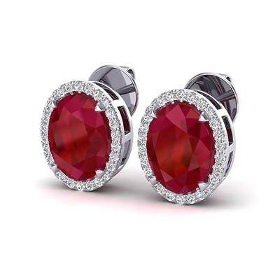 5009. 5.50 CTW Ruby & Micro VS/SI Diamond Halo Solitaire Earbridal Ring 18... Lot 5009