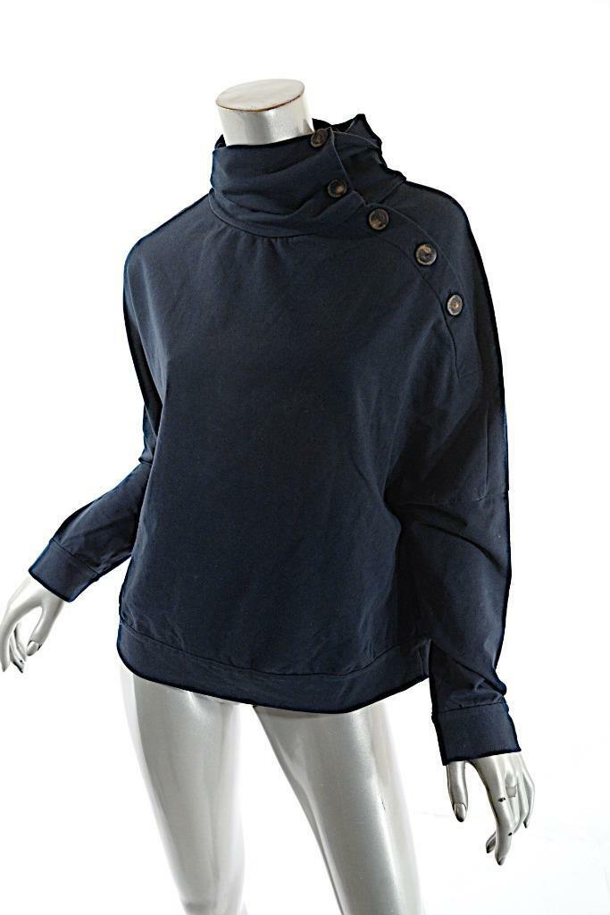 BRUNELLO CUCINELLI Navy Cotton Stretch Knit Stand Neck Buttoned Shirt  Sz M