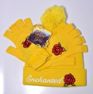 Beauty and the Beast Enchanted Rose Knit Hat & Fingerless Gloves Set: Yellow