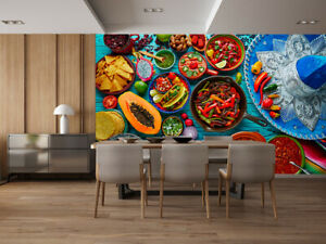 Details about 3D Mexican Foods Self-adhesive Kitchen Wallpaper Wall Murals  Restaurant Decor