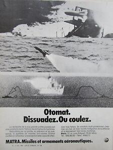 11/1978 Pub Matra Velizy Missile Otomat Antinavire Antiship Marine French Ad 8olzdnwf-07225228-968460293