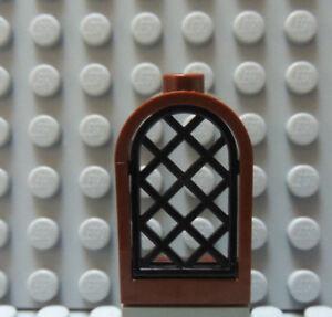 Lego Reddish Brown Window 1x2x2 2//3 Lattice Pane NEW