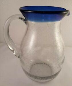 """Cobalt Blue Mexican Rim Hand Blown Art Glass Pitcher Bubble Glass 8 3/4"""""""