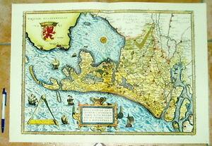 Holland-Niederlande-alte-Landkarte-Reproduktion-60-x-43-cm-Ansicht-Benelux
