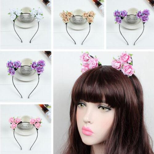 Hot Cute Floral Cat Ear Flower Headband Party Costume Head Hair Band Accessory