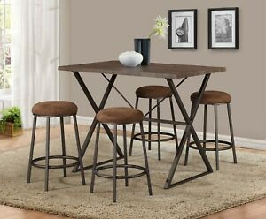 5-Piece-Brown-Industrial-Counter-Height-Dining-Pub-Set-One-Table-with-4-Stools