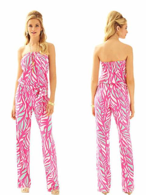 NWT $178 Lilly Pulitzer TIA Capri Pink Papaya Playa Jumpsuit