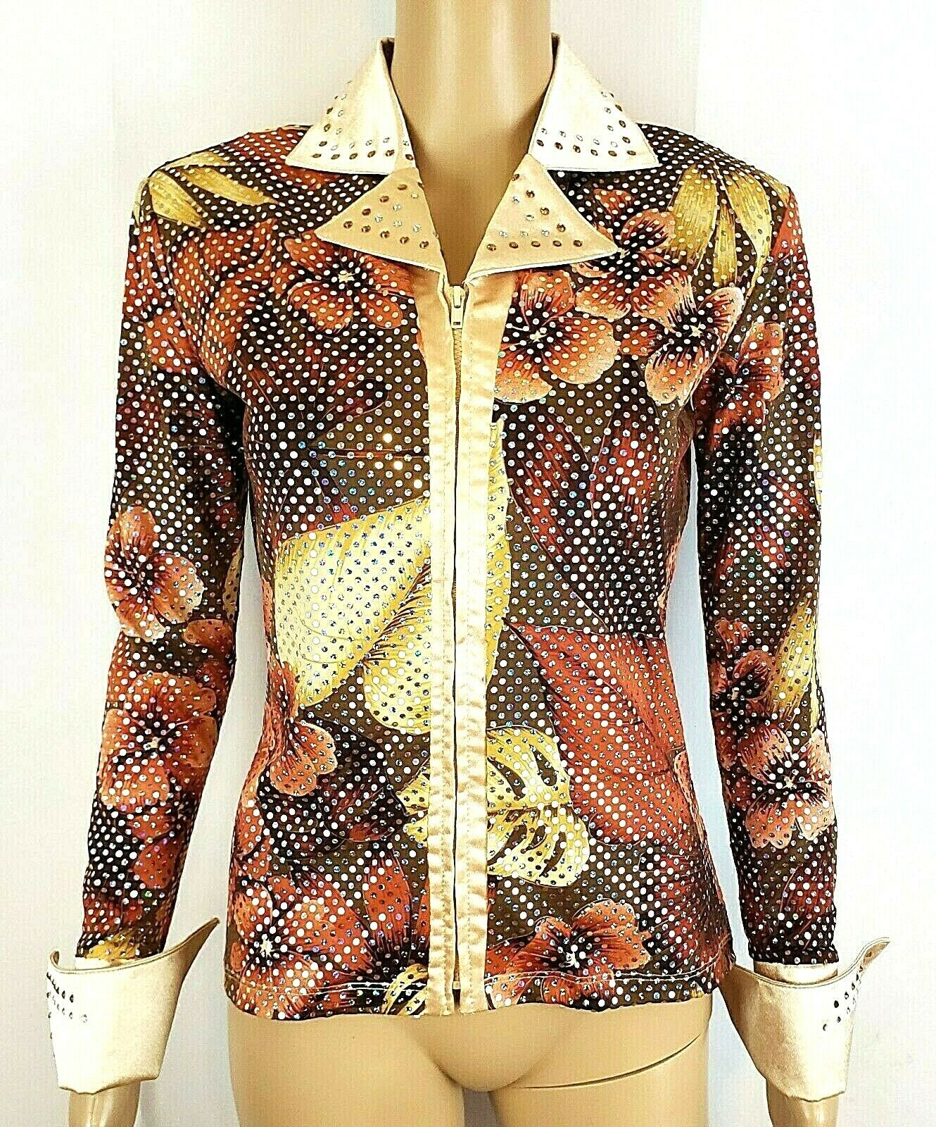 Hobby Horse Limited Edition Womens XS Floral Leaf Crystals  Western Show Shirt  sale online