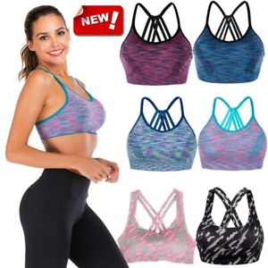 Women Yoga Bra Back Triple Criss Cross Caged Strappy Crop Top Bralette Padded LM