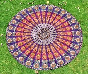 Indian-Violet-Mandala-Tapestries-Round-Beach-Cotton-Throw-Wall-Hanging-Yoga-Mat