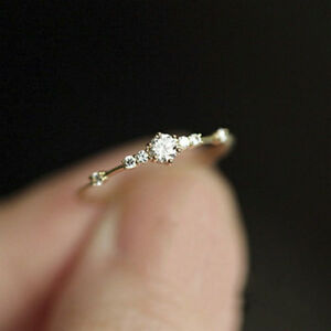 Simple Stone Thin Ring Gold Engagement Rings For Women Boho Fashion