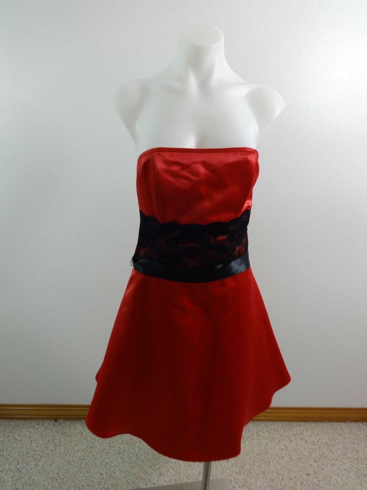 DEBUT Sexy Rot Schwarz Spitze Abend Partykleid Damen Größe 5