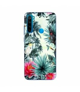Coque-Redmi-NOTE-8T-perroquet-palmier-exotique-tropical-fleur-rose