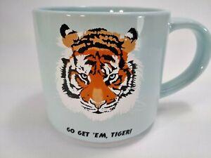 """""""Go Get 'Em, Tiger!"""" Blue Ceramic 15oz Coffee Mug w/ Tiger Face Room Essentials   eBay"""