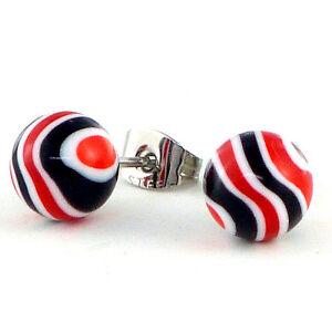 Ohrstecker-Ohrringe-paarweise-Wave-Kugel-schwarz-rot-316-L-Edelstahl