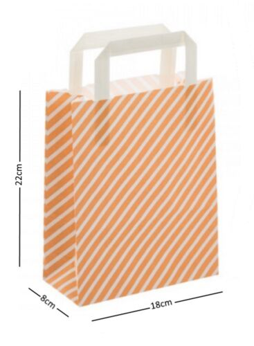 Peach /& White Stripe Birthday Party Paper Loot Gift Bags Wedding Boutique Bag