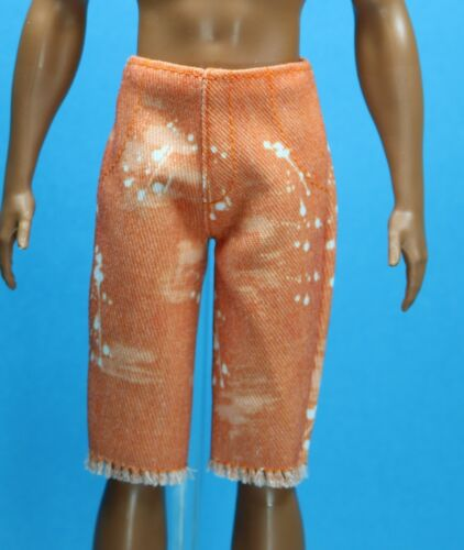 Barbie Orange Distressed Denim Shorts for SLIM REGULAR Ken Fashionistas 115 Doll
