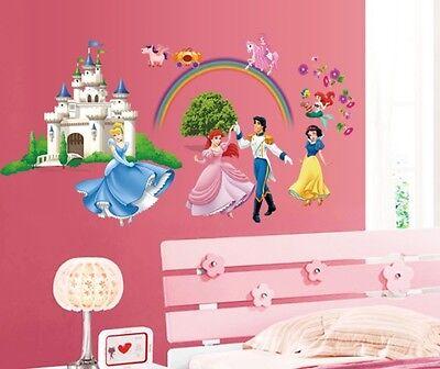 Disney Princess Wall Stickers Decal Art Decor Home girls bedroom Mural 70X35cm