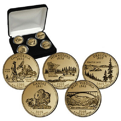 2006 24kt Gold Plated US Mint State Quarters Set in Gift Box w//COA  Gold Layered