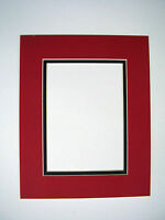Picture Frame Mat Set Of Two 10x13 For 8x10 Photo Red With Black Liner Two Mats