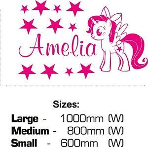 My Little Pony Wall Sticker Unicorn Decal Personalised Name Girls Twilight