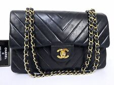 AUTH CHANEL GHW DOUBLE FLAP LAMB V STITCHED CHAIN SHOULDER BAG W25 BLACK S344