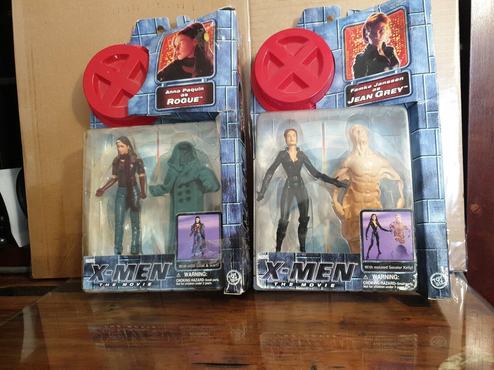MARVEL Xessi FIGURINES X2 ROGUE & JEAN grigio scatolaED giocattoloBIZ 2000