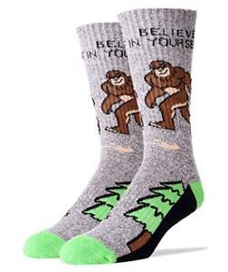 71d039c722fe Oooh Yeah! Socks Men's Athletic Crew Socks, Bigfoot/Believe, Gray ...