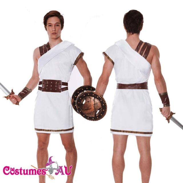 M Mens Hercules Thor Caesar Roman Gladiator Warrior Toga Fancy Dress Costume