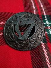 "TC Men's Fly Plaid Brooch Irish Republic Harp Black Finish 3""/Irish Harp Brooch"