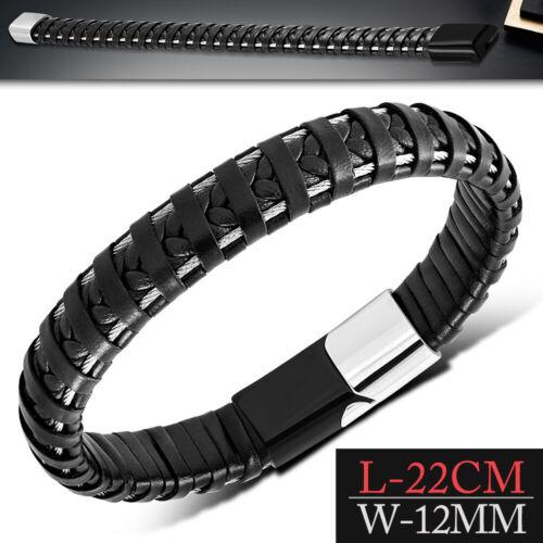 22 cm Schwarz Echtes Lederarmband mit Edelstahldraht und Magnetverschluss