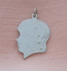 """Sterling Silver Engrave-able Girl Head Profile Silhouette Bracelet Charm 1/"""""""