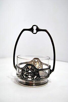 Coppa Cristallo & Montatura Art Nouveau Metallo Argento Inizio Xx Arredamento D'antiquariato