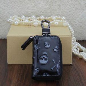 Genuine-Leather-Chain-Holder-Zipper-Wallet-3D-skull-Key-Storage-bag-Organizer