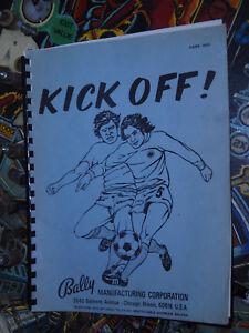 Pinball Kick Off including Schematics supplement Original Manuals Bally RARE