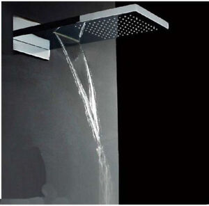 Image Is Loading Modern Luxury Wall Mounted Chrome Brass Waterfall Shower