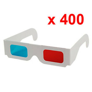 Lot-400-Glasses-3D-Anaglyph-Red-Cyan-New-Blue-Cardboard