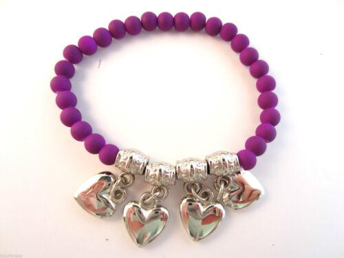 Neón UV con cuentas pulsera con tono Plata Perlas /& encantos Dangly en forma de corazón