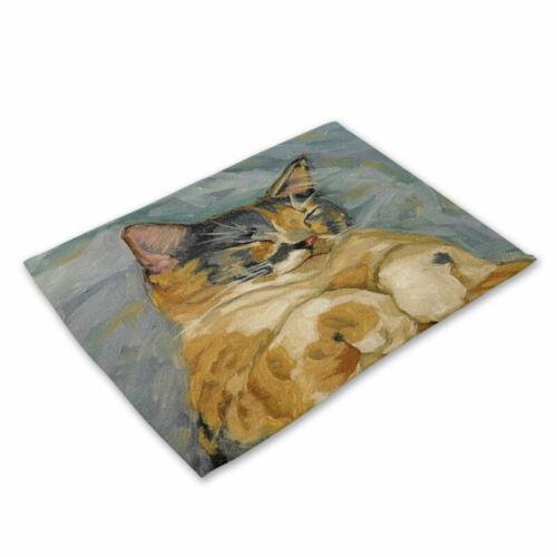 Art Cat Dog Placemats Cotton Linen Dining Room Table Mat Heat Insulation MA21