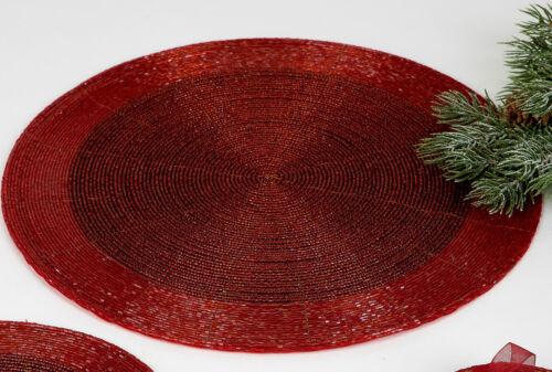 Formano Platzset Untersetzer Perlen Rot handgefertigt Tisch Set Größe wählen ♥